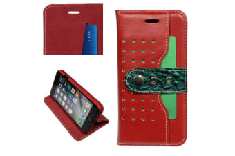 For iPhone 8 7 Wallet Case Fierre Shann Buckle Protective Leather Cover Red