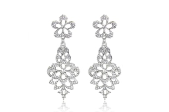 Silver-Tone Zirconia Vintage Style Hollow-out Chandelier Dangle Earrings G00180