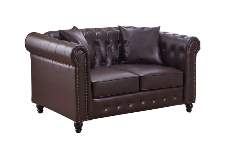 Melbournians Furniture Xavier PU Leather 2 Seater Sofa (Brown)