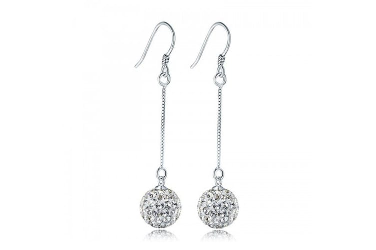 .925 Shamballa Fish Hook Earrings -Silver/Clear