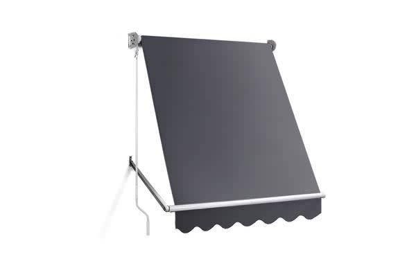 1.5m x 2.1m Retractable Fixed Pivot Arm Awning (Grey)