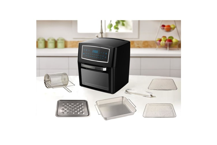 12L Electric Digital Air Fryer Oven 1500W w/Rack/Cage/Rotisserie/Mesh Tray Black