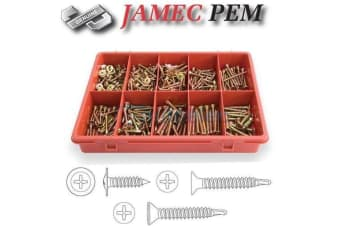 340 PCE PHILIPS SELF DRILLING METAL SCREW ASSORTMENT FASTENER KIT CAR 102298