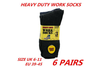6 x Mens Work Socks Heavy Duty Thick Cotton Blend Black Cushion Boot Sox 6-11