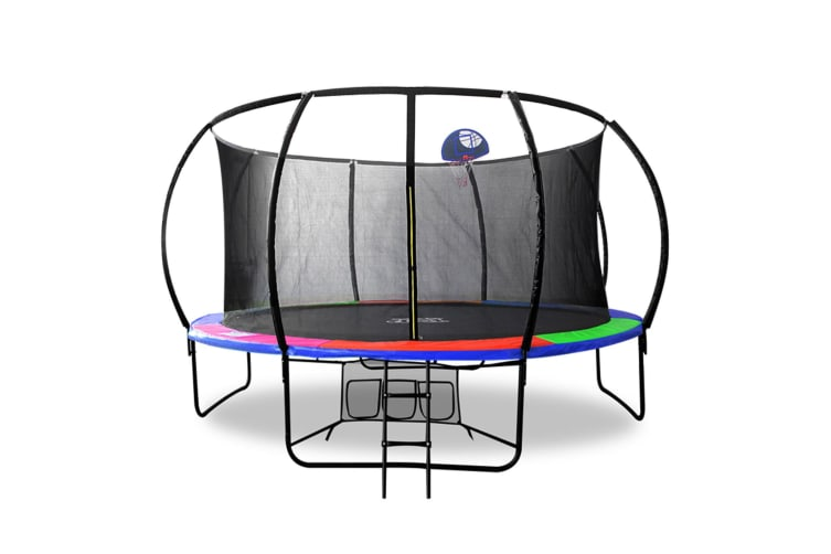 POP MASTER 6FT FIBERGLASS CURVED TRAMPOLINE With BASKETBALL HOOP SAFETY NET