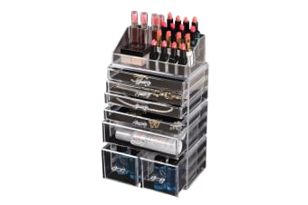 Cosmetic 7/8//9/10/11 Drawer Makeup Organizer Storage Jewellery Box Acrylic  -  7 Drawers(A)