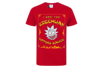 Rick And Morty Mens Szechuan Dipping Sauce T-Shirt (Red)