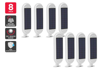 8 Pack Solar Wall Mounted Motion Sensor Light (White, Zara)