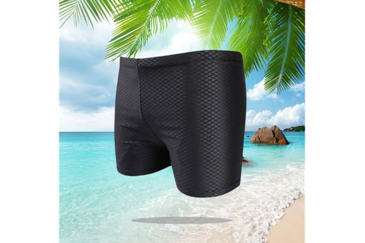 Men Shark Skin Swimwear Surfing Breathable Short Brief Black 4Xl