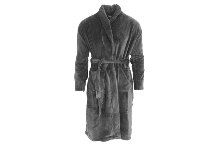 Harvey James Mens Supersoft Dressing Gown/Robe (Grey) (M)