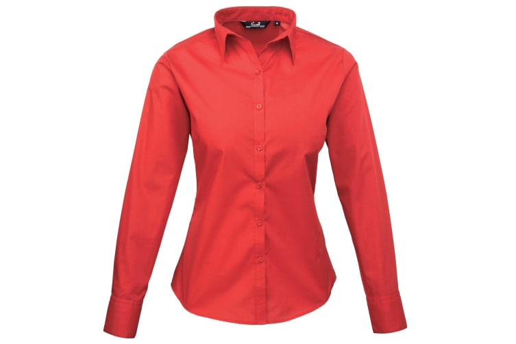 Premier Womens/Ladies Poplin Long Sleeve Blouse / Plain Work Shirt (Strawberry Red) (14)