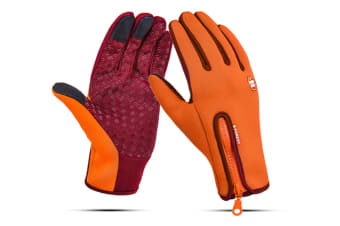 Outdoor Sport Gloves For Men And Women Skiing With Cold-Proof Touch Screen - 7 Orange Xl