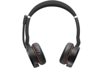 New Jabra Evolve 75 UC Stereo Binaural Headband Black Red Headset