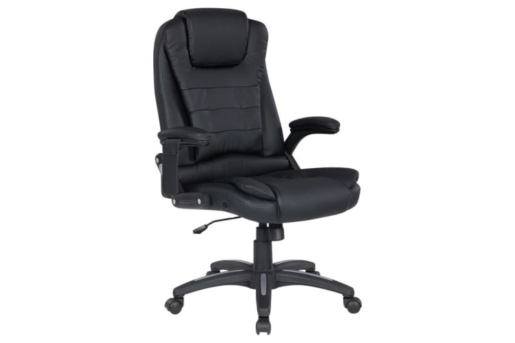 Ergolux Saratoga 8 Point Heated Vibrating Massage Black Office Chair