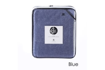 Herringbone Wool Blanket Blue King by Accessorize