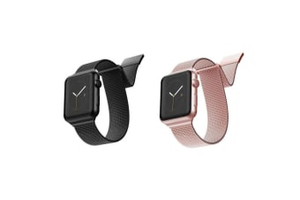 2pc X-Doria Stainless Steel Mesh Band Strap For 40mm-38mm Apple Watch BLK & RSGD