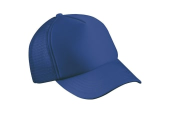 Myrtle Beach Adults Unisex 5 Panel Polyester Mesh Cap (Royal Blue) (One Size)