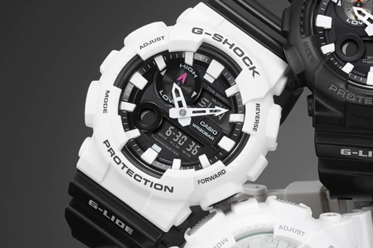 Casio G-Shock G-Lide Tide Graph Data Analog Digital Watch with Resin Band - White/Black (GAX100B-7A)