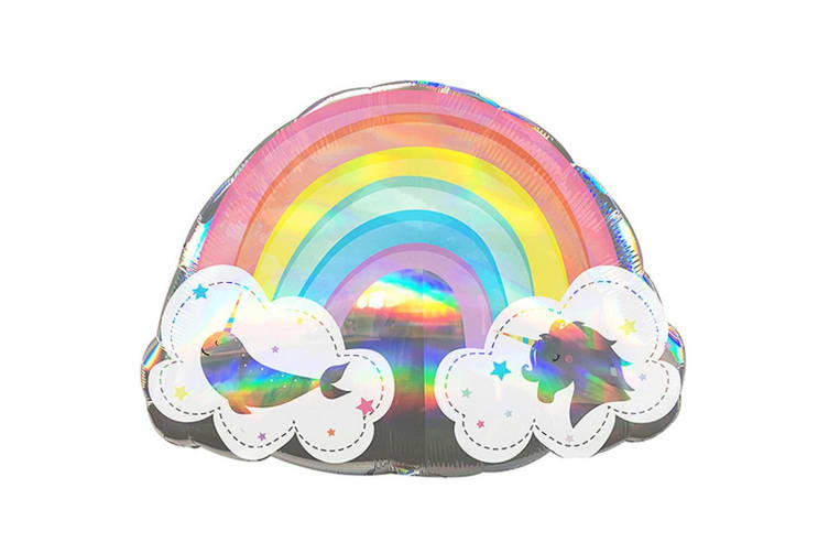 Anagram Magical Rainbow Holographic Supershape Foil Balloon (Multicoloured) (One Size)