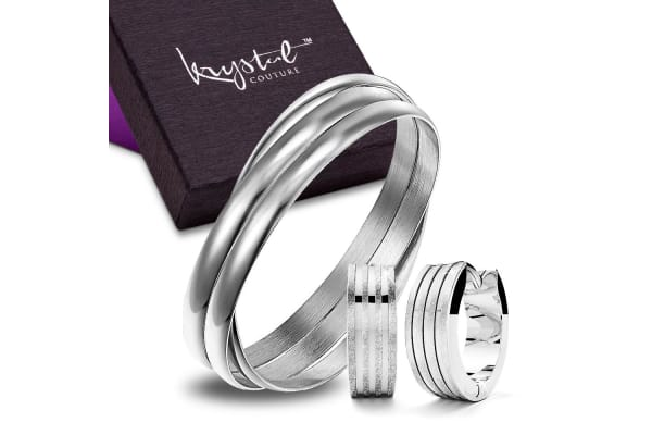 Boxed Angel Textured Earrings And Bangle Set In White Gold-White Gold