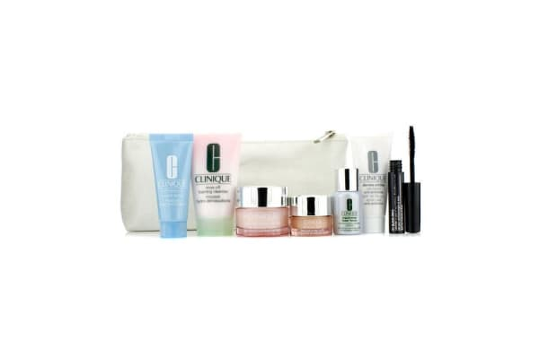 Clinique Travel Set: Foaming Cleanser 30ml + Moisture Surge Intense 15ml + City Block 15ml + Turnaround Masque 15ml + Repairwear Laser Focus 7ml + All About Eyes 5ml + Mascara #01 + Bag (7pcs+1bag)