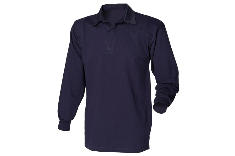 Front Row Long Sleeve Classic Rugby Polo Shirt (Navy/Navy) (L)