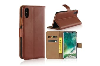For iPhone XS X Wallet Case Elegant Slim Leather Cover Card Holder Brown