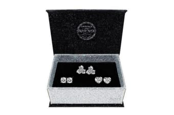 Boxed 3 Pairs Stud Earrings Set Embellished with Swarovski crystals