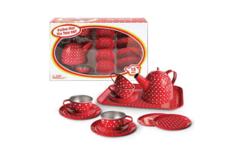 Red Polka Dot Tin Tea Set (15pce) - Kaper Kidz