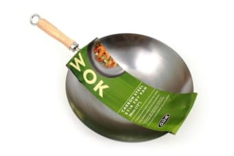 D.Line Professional Carbon Steel Wok 27cm Chinese Wood Handle Flat Base Fry Woks