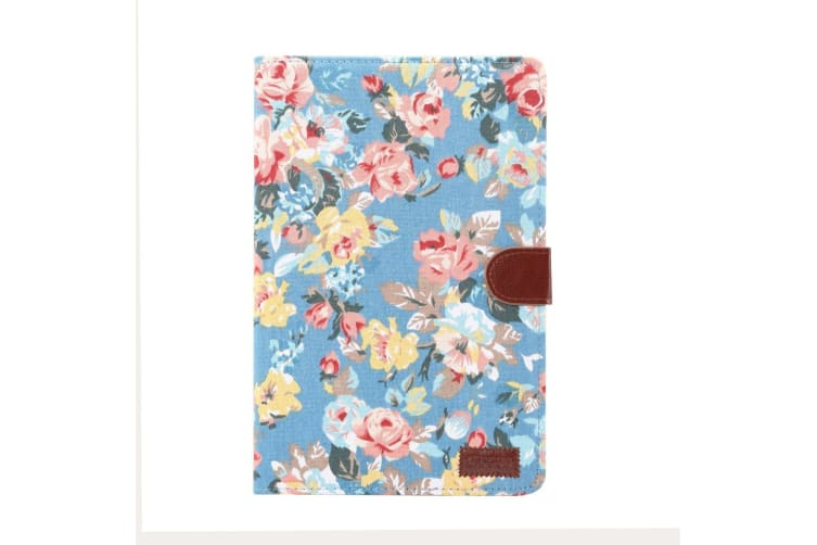 For Samsung Galaxy Tab S4 10.5in Case Blue Flower Pattern PU Leather Folio Cover