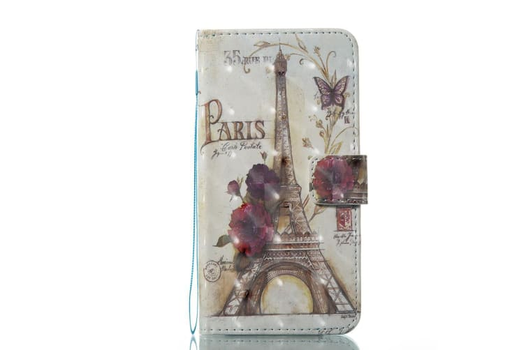 For iPhone XS X Wallet Case Modern Eiffel Tower Durable Protective Leather Cover