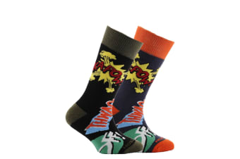 Horizon Childrens/Kids Patterned Socks (Pack Of 2) (Kapow! Print Black and Blue)