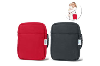 2pc Avent Neoprene ThermaBag Warmer Baby Bottle Insulated/Thermo Bag Black/Red