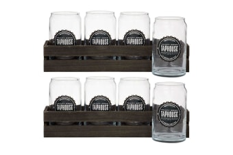 8pc Maverick 400ml Beer Glasses Mug Can Jar Drinking Party Bar Glass Wood Crate