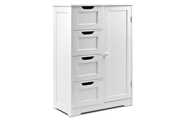 Bathroom Tallboy Storage Cabinet (White)