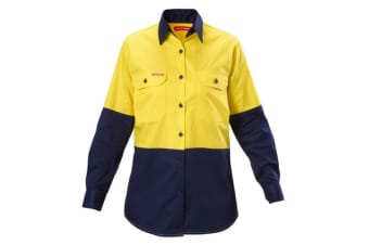 Hard Yakka Women's Koolgear Hi-Vis Long Sleeve Shirt (Yellow/Navy, Size 22)