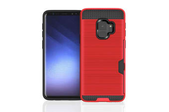 Red Brushed Armour Card Slot For Samsung Galaxy S9 Case