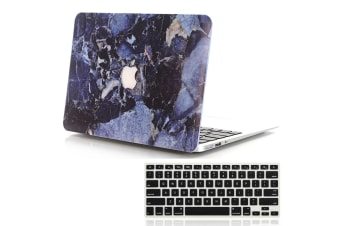"""Marble Frosted Matte Hard Case with Free Keyboard Cover for MacBook Pro 13"""" 2019 A2159 A2251-Navy Blue Marble"""