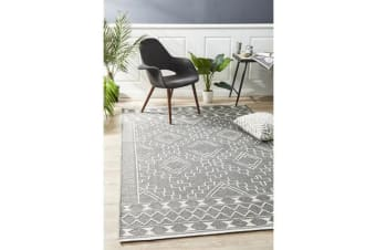 Ryder Grey & Natural White Scandi Wool Textured Rug 320x230cm