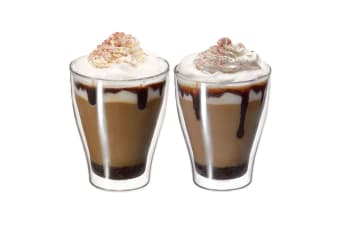 Avanti Modena 2pc 350ml Glass Set Coffee Thermal Glasses Expresso Cups Hot Cold