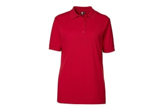 ID Womens/Ladies Classic Pique Regular Fitting Short Sleeve Polo Shirt (Red) (2XL)