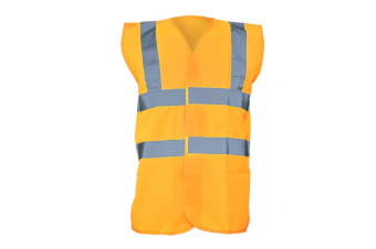 Yoko Unisex Premium Hi-Vis Waistcoat Vest / Jacket (Pack of 2) (Hi Vis Orange) (4XL)