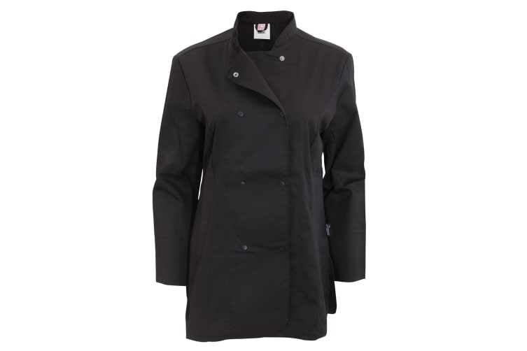 Dennys Womens/Ladies Long Sleeve Fitted Chef Jacket (Black) (M)