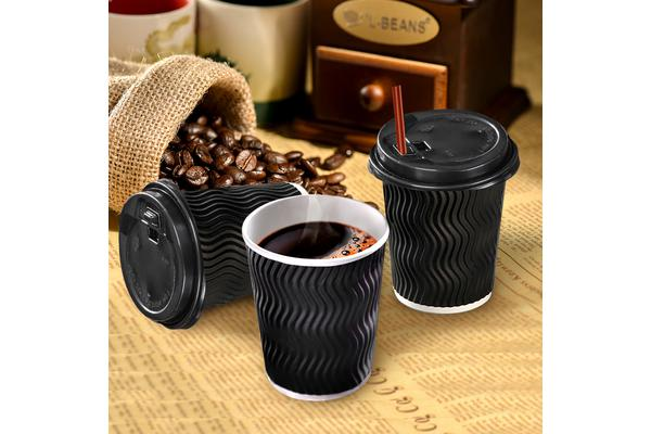 Disposable Coffee Cups Triple Wall 8oz 500pcs BLACK