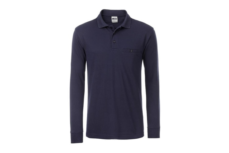 James and Nicholson Mens Workwear Long Sleeve Pocket Polo (Navy) (XXL)