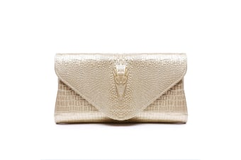 Sparkling Metal Lock Clutch Rhinestone Frosted Evening Party Clutches Champagne