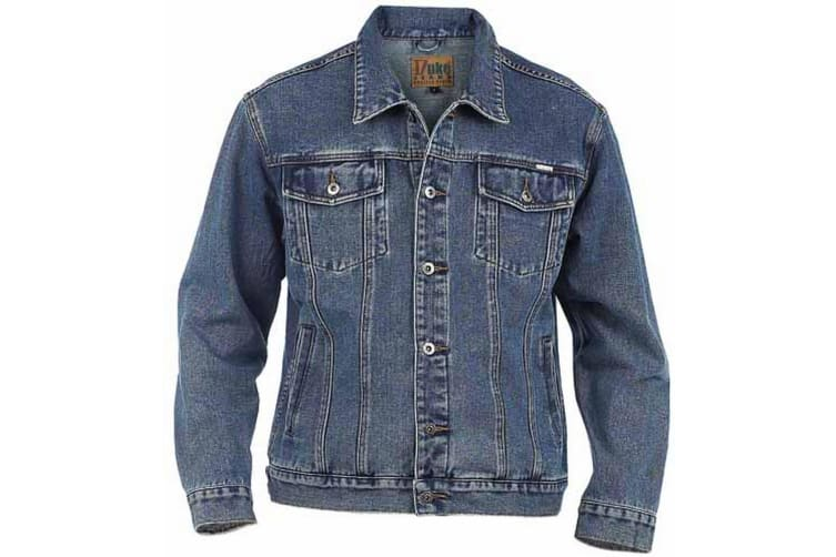 Duke Mens Kingsize Western Trucker Style Denim Jacket (Stonewash) (5XL)