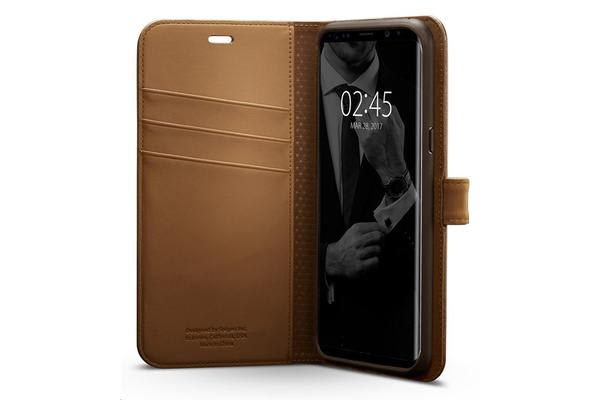 Spigen Galaxy S8+ Premium Wallet Case Coffee Brown