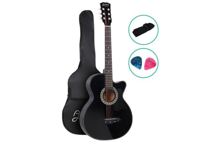 Alpha 38 Inch Wooden Folk Acoustic Guitar Classical Cutaway Steel String Black